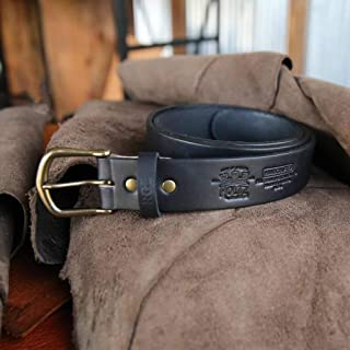 product image for No. 102 Fine Leather Belt in Black – Personalized Custom Belt – with Secret Message – Rounded Brass Buckle