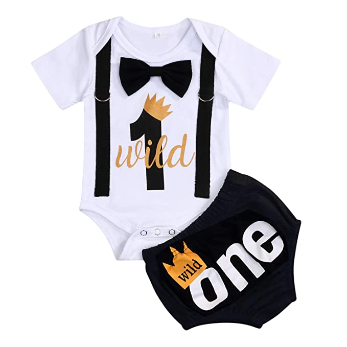 1st Birthday Outfit Boy.Baby Boy First Birthday Outfit Infant Wild One Boy Bow Tie Short Sleeve Romper Shorts Bodysuit Cake Smash Outfits