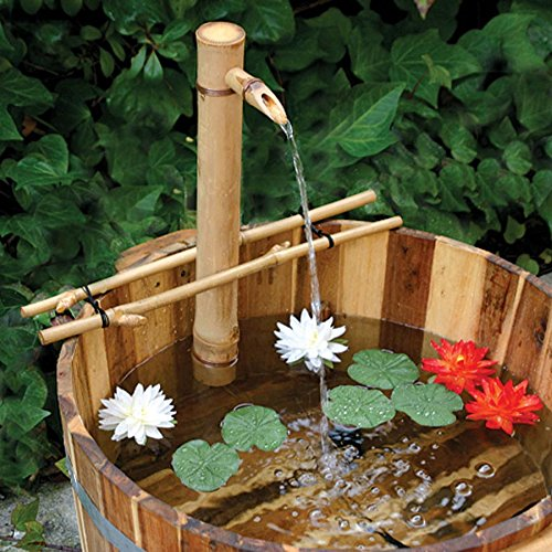 Bamboo Accents Water Fountain with Pump, Backyard Pond Kit, Extra Large 24' Adjustable Style, Smooth and Split-Resistant, DIY Zen Bamboo Fountain