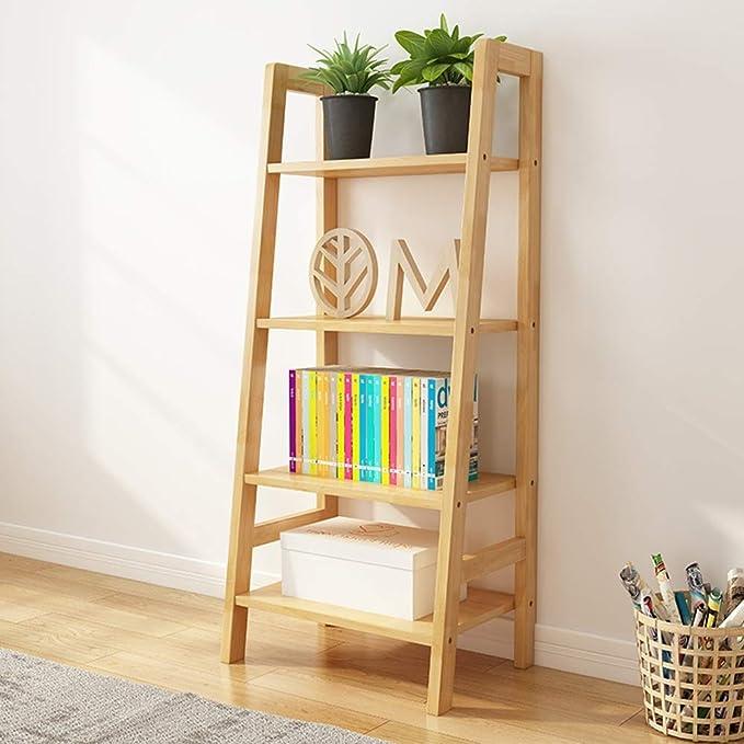 ZR- Estante Escalera Inclinada 4 Niveles/Estante para Librerías Mueble Estantes Pared con Almacenamiento Pantalla, Estante, Acero Al Carbono y Madera (Color : Walnut Color): Amazon.es: Hogar