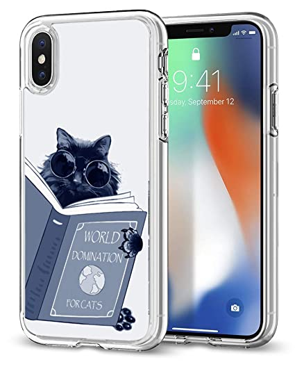 san francisco d034f fc7ca Cat Case for iPhone xr,Gifun [Anti-Slide] Clear TPU Premium Flexible  Protective Case Cover for iPhone XR 2018 - World Domination for Cats
