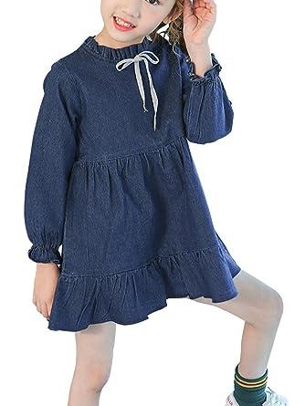 f2353ac7fe SOIXANTE Girls Long Sleeves Casual Ruffle Collar Denim Dress 3-12 Years   Amazon.co.uk  Clothing