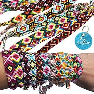 Carykon Pack of 12 Geometric Patterns Nepal Woven Friendship Bracelets