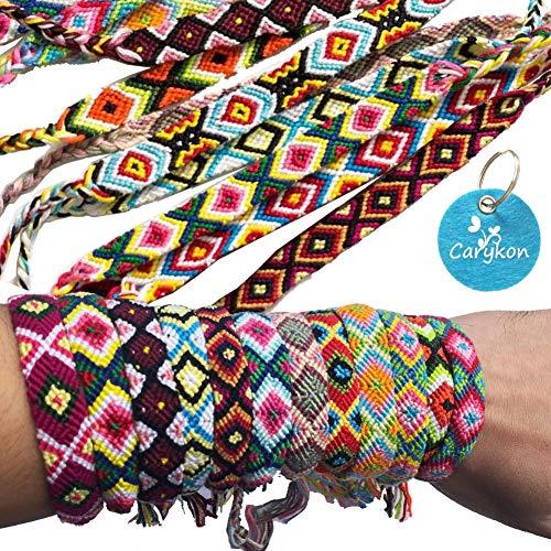 Carykon Pack of 12 Geometric Patterns Nepal Woven Friendship Bracelets (Geometric)]()