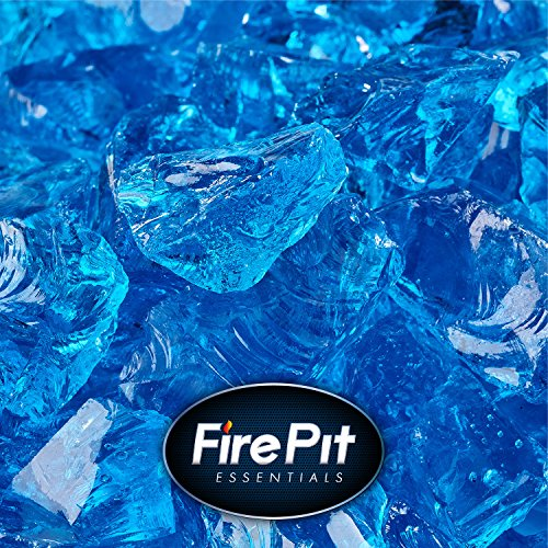 Bermuda Blue - Crushed Fire Glass for Indoor and Outdoor Fire Pits or Fireplaces | 10 Pounds | 1/2 Inch - 3/4 Inch (Outdoor Faux Stone Fireplace)