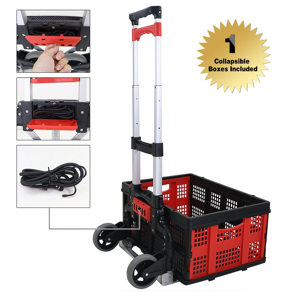 Finether Cart Aluminum Folding 2-wheel Hand Cart Lightweight Portable Hand Truck/Dolly with Collapsible and Detachable Box