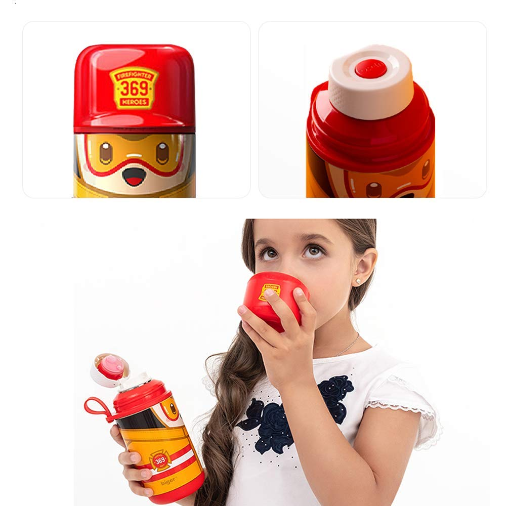 Kids Water Bottle Stainless Steel, Thermos Flask for Child with Straw /& 2 Flip Top Sports Cap /& Straw,Kids Figure Bottle for Girls /& Boys Spill//Leak-Proof,12oz 360ml