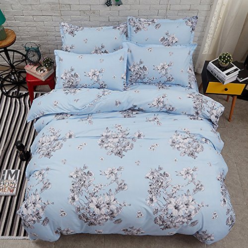 (Bed Set 4pcs Beddingset Duvet Cover Set No Comforter One Duvet Cover One Flat Bedsheet Two Pillowcases Twin Full Queen Sheets Set Flower Lily Peony Design for Kids Adults Teens (Queen, Lily, Blue) )