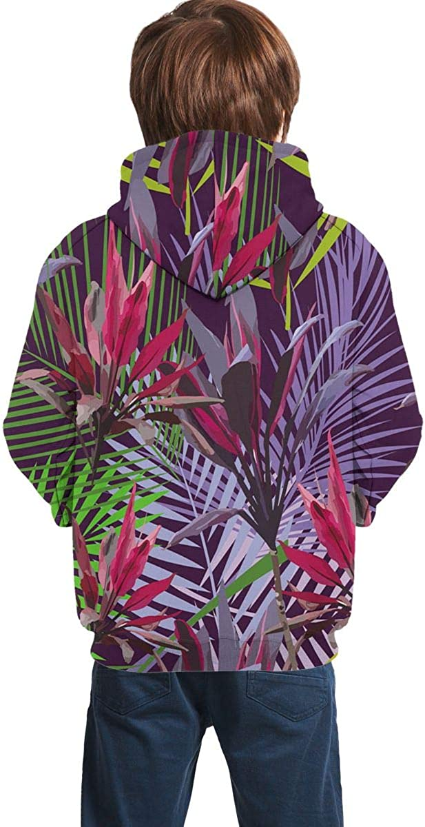 Youth 3D Print Purple Tropical Green Leaf Hooded Sweatshirt