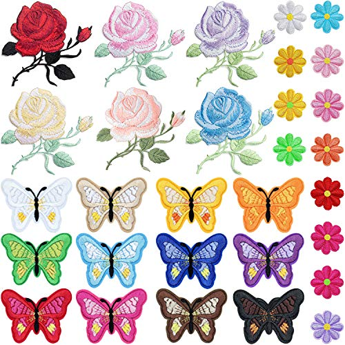(PGMJ 42 Pieces Embroidery Applique Patches Rose Flowers New Butterfly,Sunflowers Iron On Patches for Jackets, Jeans, Bags, Clothing, Arts Crafts DIY Decoration)