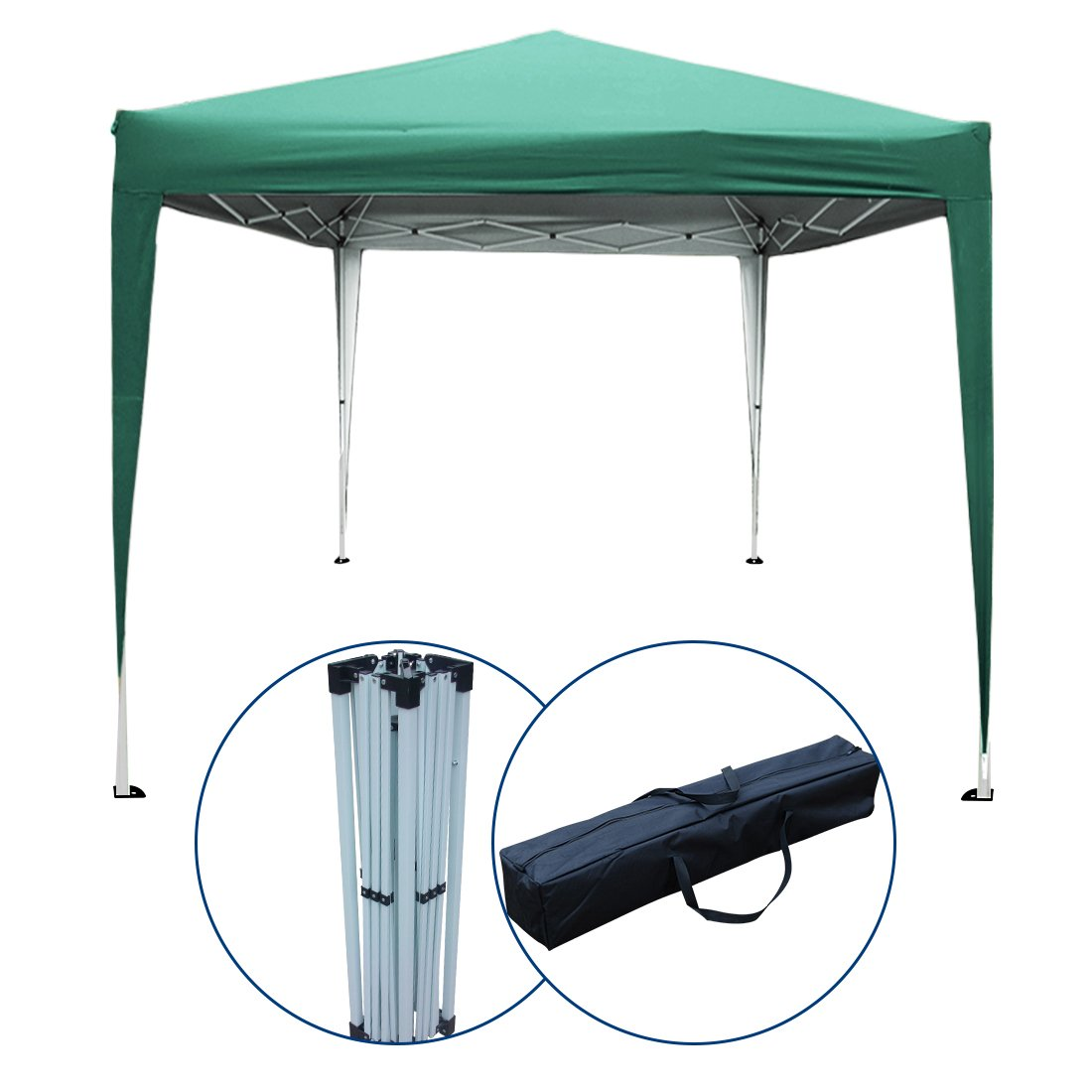 PeakTop 10 x10 Feet EZ Pop Up Canopy Tent Party Tent Gazebo Instant Beach Sun Shade With Carry Bag 100% Waterproof-5 Colors (Green)