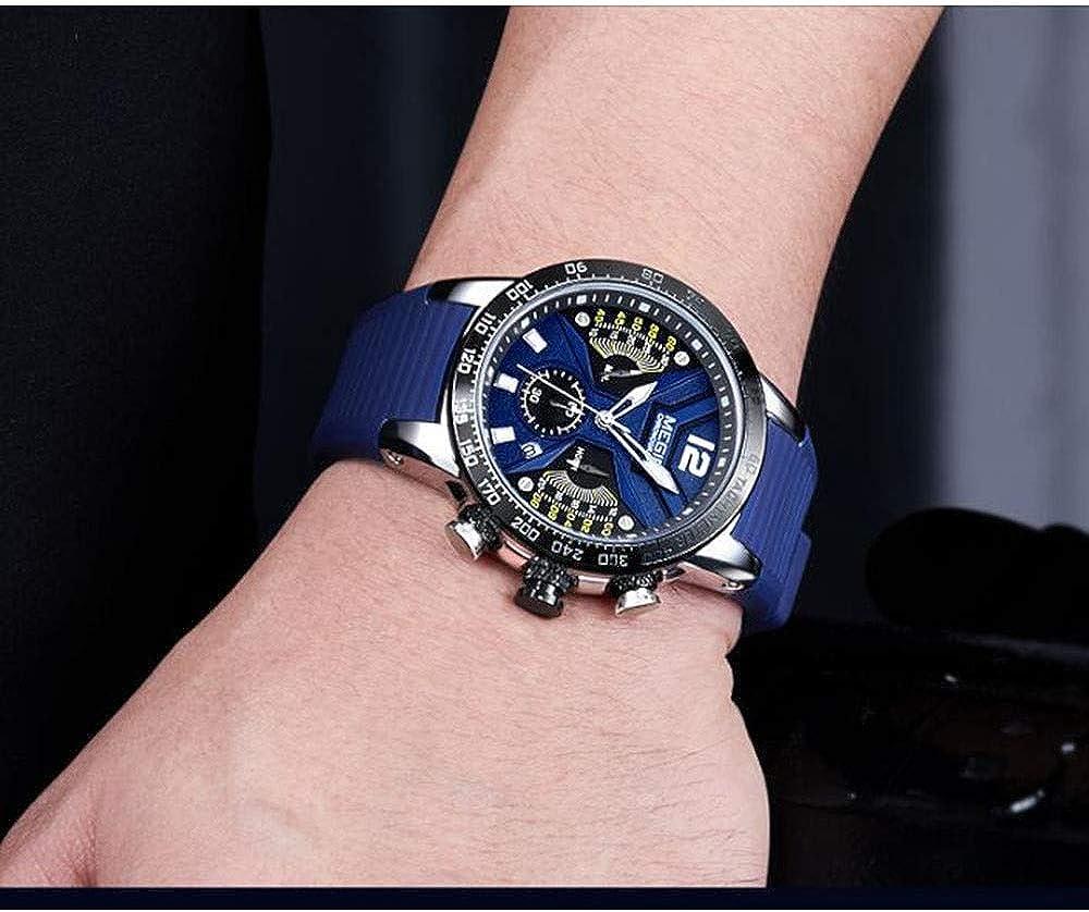 LULI Cronografo al quarzo Moda Uomo di orologio da polso impermeabile Blue