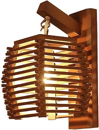 Yuqianqian Lámparas Apliques de Pared Lámpara sólida Pared de Madera Aplique for el Dormitorio del Pasillo de la Sala Balcón Estudio Café con 7W del Bulbo para Escalera Dormitorio Hotel: Amazon.es: Hogar