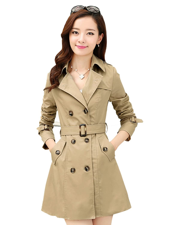 puzhen 樸楨 2014秋冬新款韓版女裝風衣中長款雙排扣外套韓國修身薄圖片