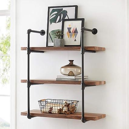 Amazon Com O K Furniture 3 Tier Vintage Industrial Pipe Wall Shelf