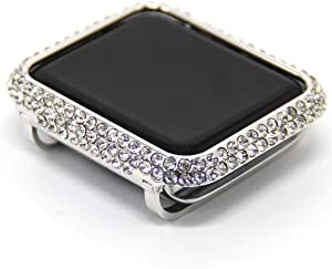 HJINVIGOUR Bling Luxury Rhinestone Crystal Diamond Protective Cover Case Bezel Compatible Apple Watch Series 4 Series 5 40mm 44mm Series 3 2 1 38mm 42mm (Platinum, 44mm)