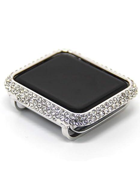 on sale 1ba43 8de28 HJIN Bling Luxury Rhinestone Crystal Diamond Protective Cover case Bezel  Compatible Apple Watch Series 4 40mm 44mm Series 3 2 1 38mm 42mm (Platinum,  ...