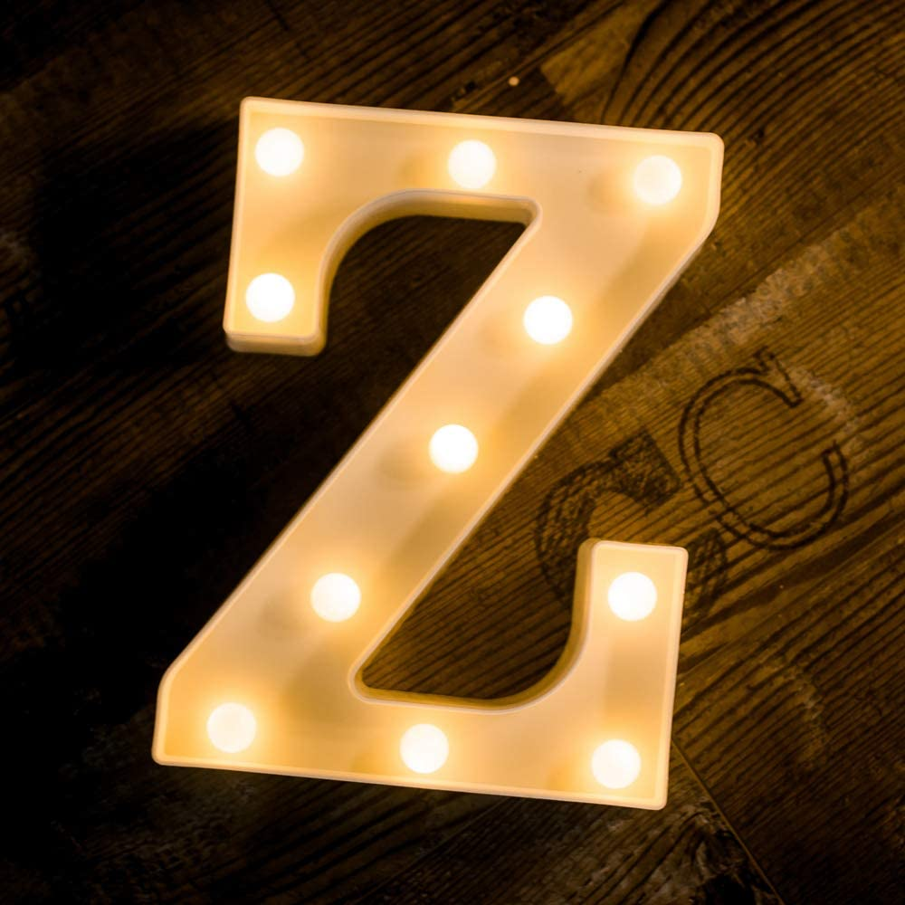 Foaky LED Letter Lights Sign Light Up Letters Sign for Night Light Wedding/Birthday Party Battery Powered Christmas Lamp Home Bar Decoration(Z)