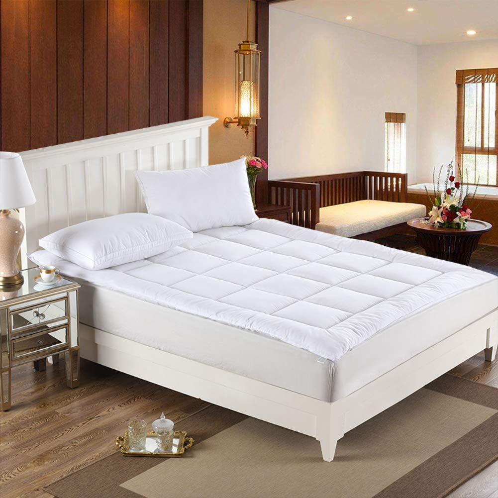 YQ WHJB Hotel Mattress Pads,Polyester Tatami Mattress,Thicken Non-Slip Breathable Ultra Soft Overfilled Mattress Protector-White 120x200cm(47x79inch)