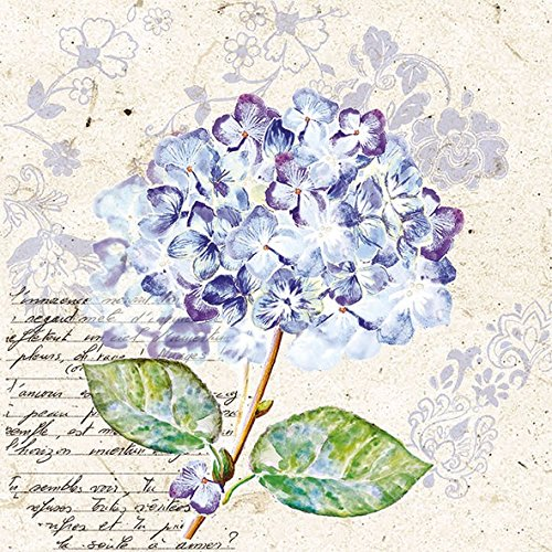 3-ply 4 Individual Napkins for Craft and Napkin Art. 4 Paper Napkins for Decoupage Flou dHortensia Purple 33 x 33cm