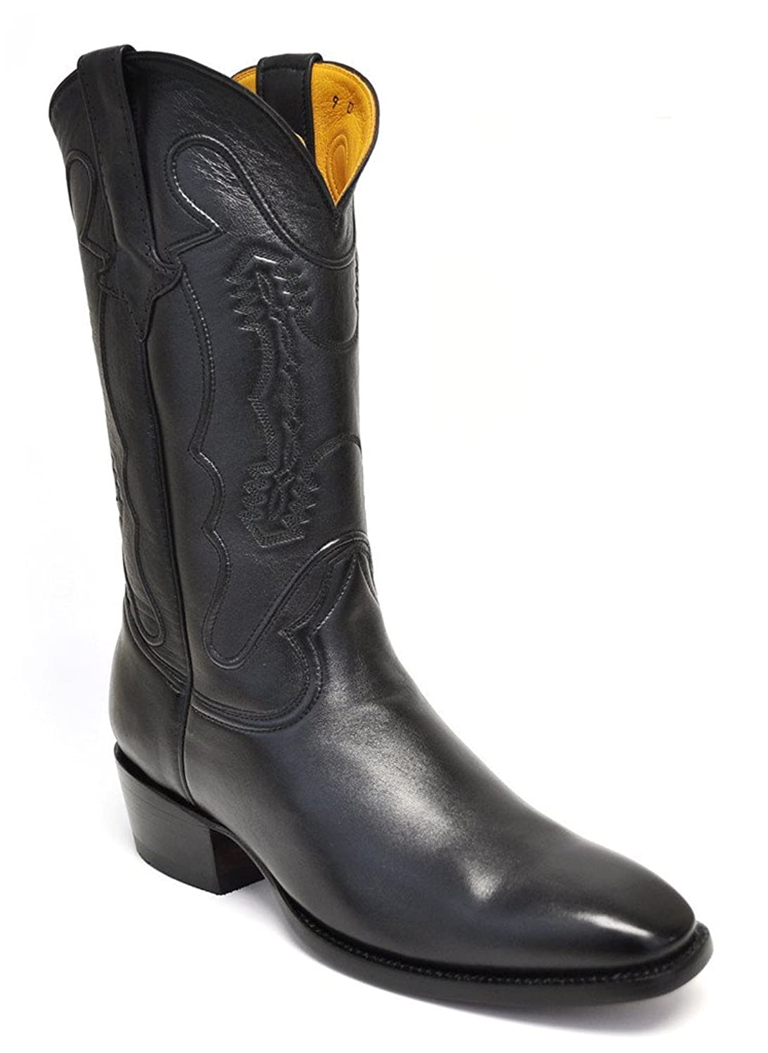 Gavel Men's Classic Handmade Black Goatskin French Toe Cowboy Boot