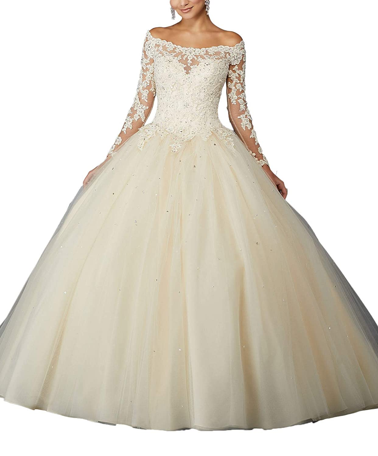 Champagne Yisha Bello Women's Off The Shoulder Lace Applique Pro Ball Gowns Long Sleeve Beaded Quinceanera Dresses for Sweet 16