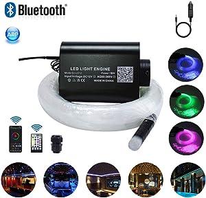 Car Use 16W LED RGBW Fiber Optic Star Ceiling Kit, 28 Keys Remote Sound Sensor Musical Light 0.75mm/0.03in 6.5ft/2m 200PCs