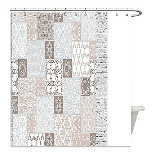 Liguo88 Custom Waterproof Bathroom Shower Curtain Polyester Arabian Decor Oriental Motif Pastel Patchwork Pattern with Filigree Ornaments Illustration Art Decor White Beige Grey Decorative bathroo by liguo88