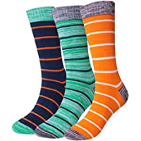 Morecoo Mens Cotton Dress Socks 3-Pk (Striola)