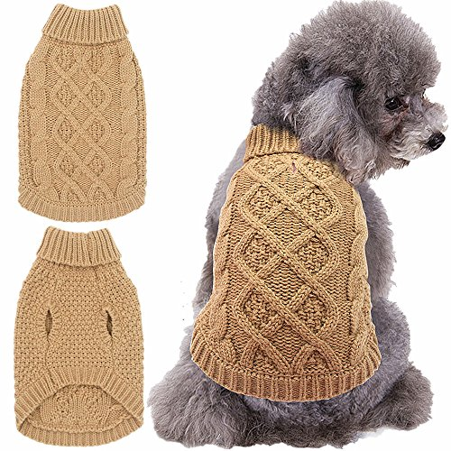 Dog Sweater Coat Apparel - Cable Knitwear Winter Clothes,Pure Beige,S