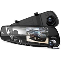 """Pyle Dash Cam Rearview Mirror - 4.3"""" DVR Monitor Rear View Dual Camera Video Recording System in Full HD 1080p w/Built…"""