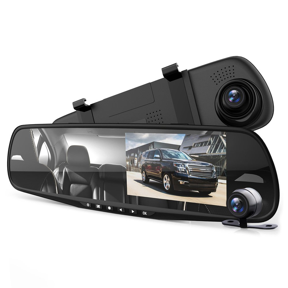 """Pyle Dash Cam Rearview Mirror - 4.3"""" DVR Monitor Rear View Dual Camera Video Recording System in Full HD 1080p w/Built in G-Sensor Motion Detect Parking Control Loop Record Support - PLCMDVR49"""
