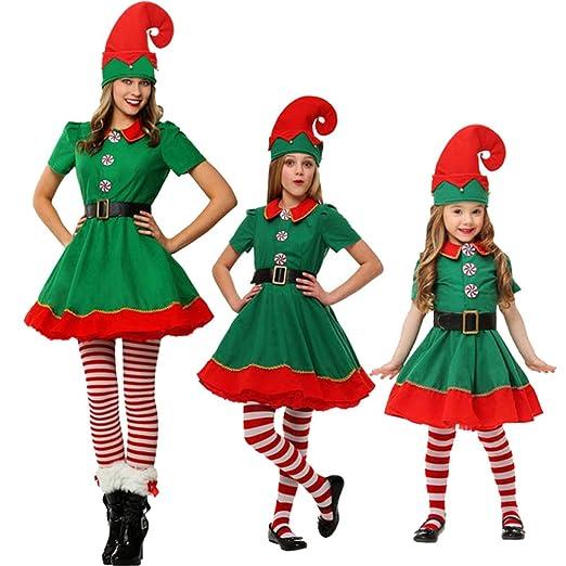 Chenqi Disfraz de Navidad Elfos de Navidad para niños Cosplay Festival entre padres e hijos Adultos Hombres y mujeres Verde Hermoso