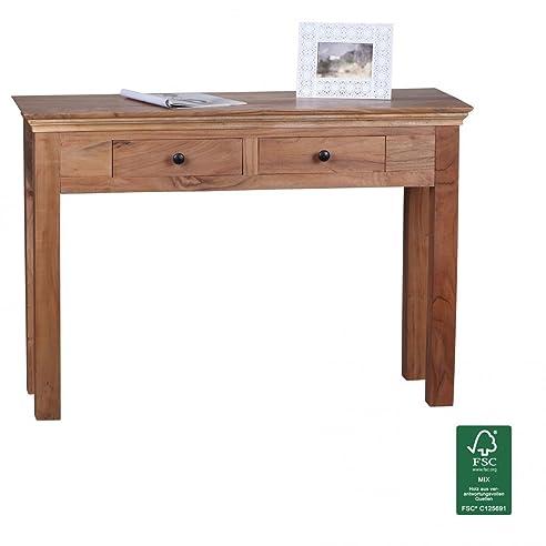 Schreibtisch holz dunkel  FineBuy Konsolentisch Massivholz Akazie Konsole mit 2 Schubladen ...