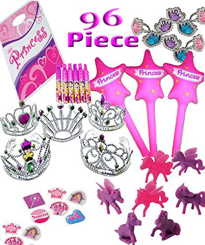 Princess Party Favor Pack for 12 Guest -96 Pieces= 12 Tiaras, 12 Inflatable Wands, 12 Princess Rings, 12 Princess Ponies, 12 Disney Mini Recorders, 24 Princess Puffy Stickers & 12 Princess Loot Bags