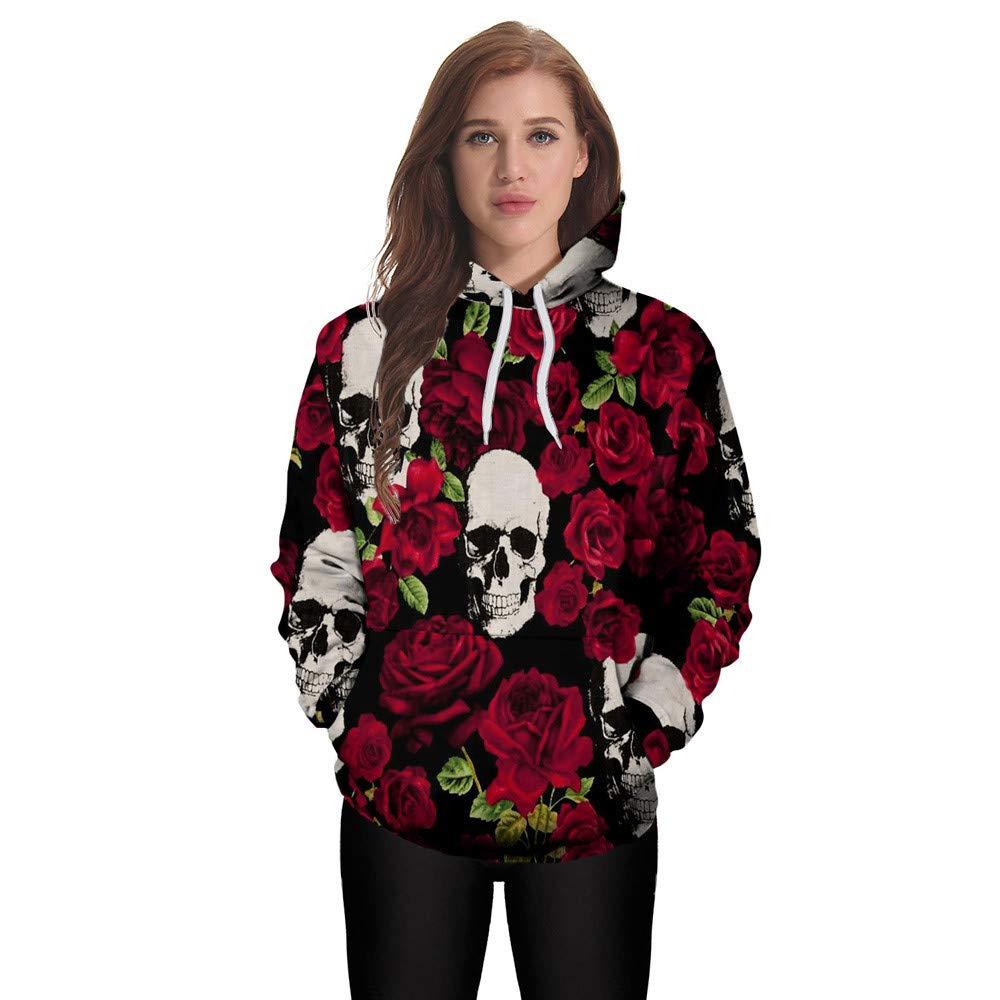 Men Jackets,Dartphew Loves Long Sleeve Hoodies Sweatshirt Red Roses /& Skulls