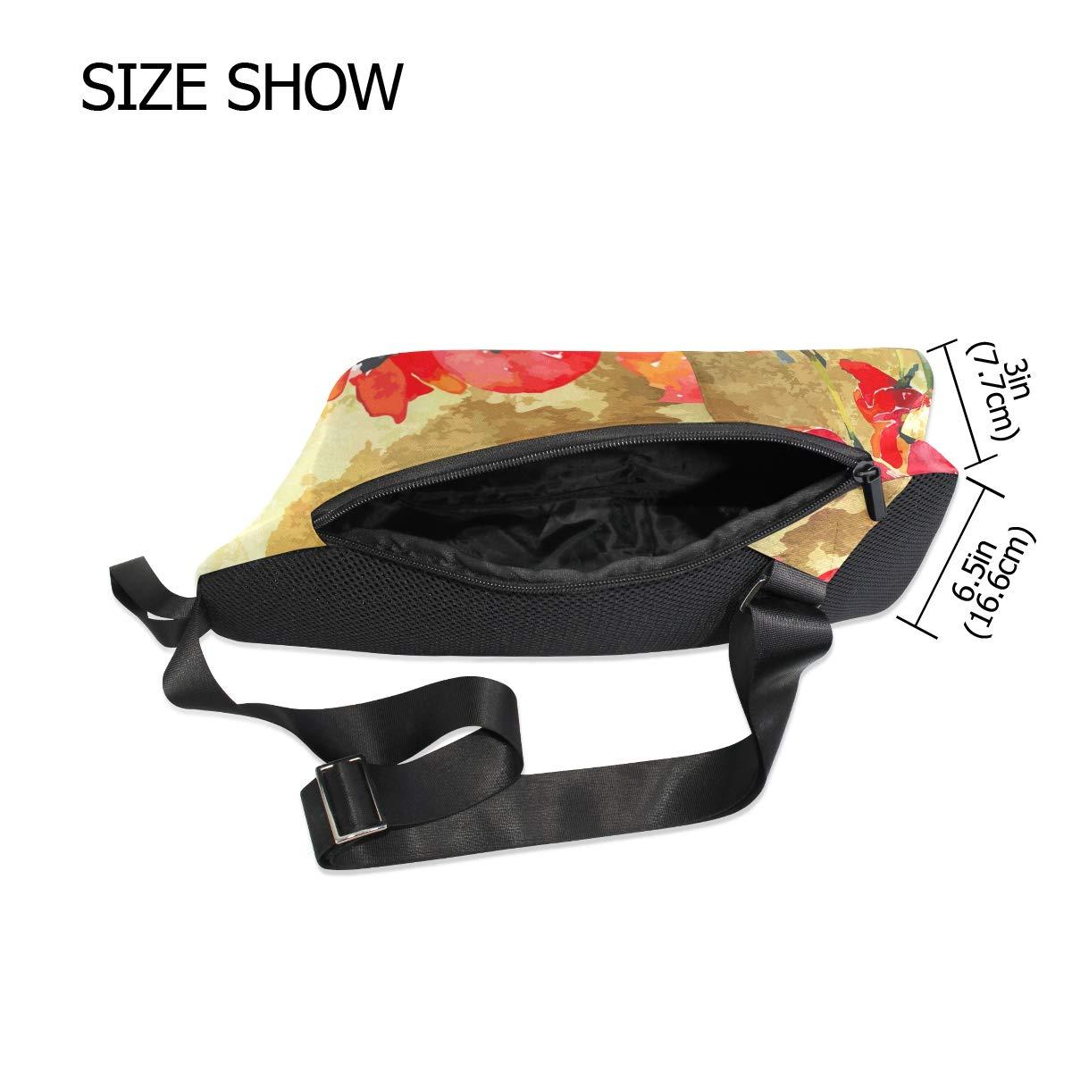 AHOMY Vintage Watercoulor Poppy Messenger Bag Small Travel School Sling Bag Crossbody Bag