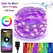4-FQ Fairy String Lights, USB Fairy Lights Plug in,Color Changing Led String Lights RGB 16.4ft,Starry Lights Sync to Music,Firefly String Lights Bluetooth APP Timer,Copper Wire String Lights Bedroom