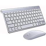 ワイヤレスキーボード マウスセット 2.4GHz 薄型 ミニ 無線キーボード マウスセットパソコンノートパソコンWindows10/8/7 Macに対応 USB接続 対応レシーバー採用 (白)