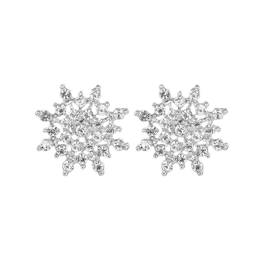 Lecimo Silver 1 Pair Of Delicate Rhinestones Snowflake Earrings Gift