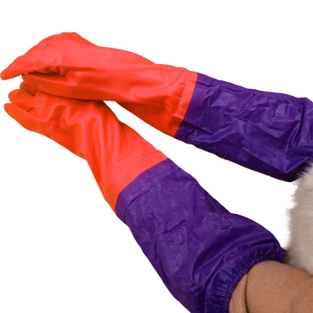 Bienen Long Household Dishwashingクリーニング暖かい手袋ラバーグローブ レッド B01MQ250T1 B01MQ250T1  レッド