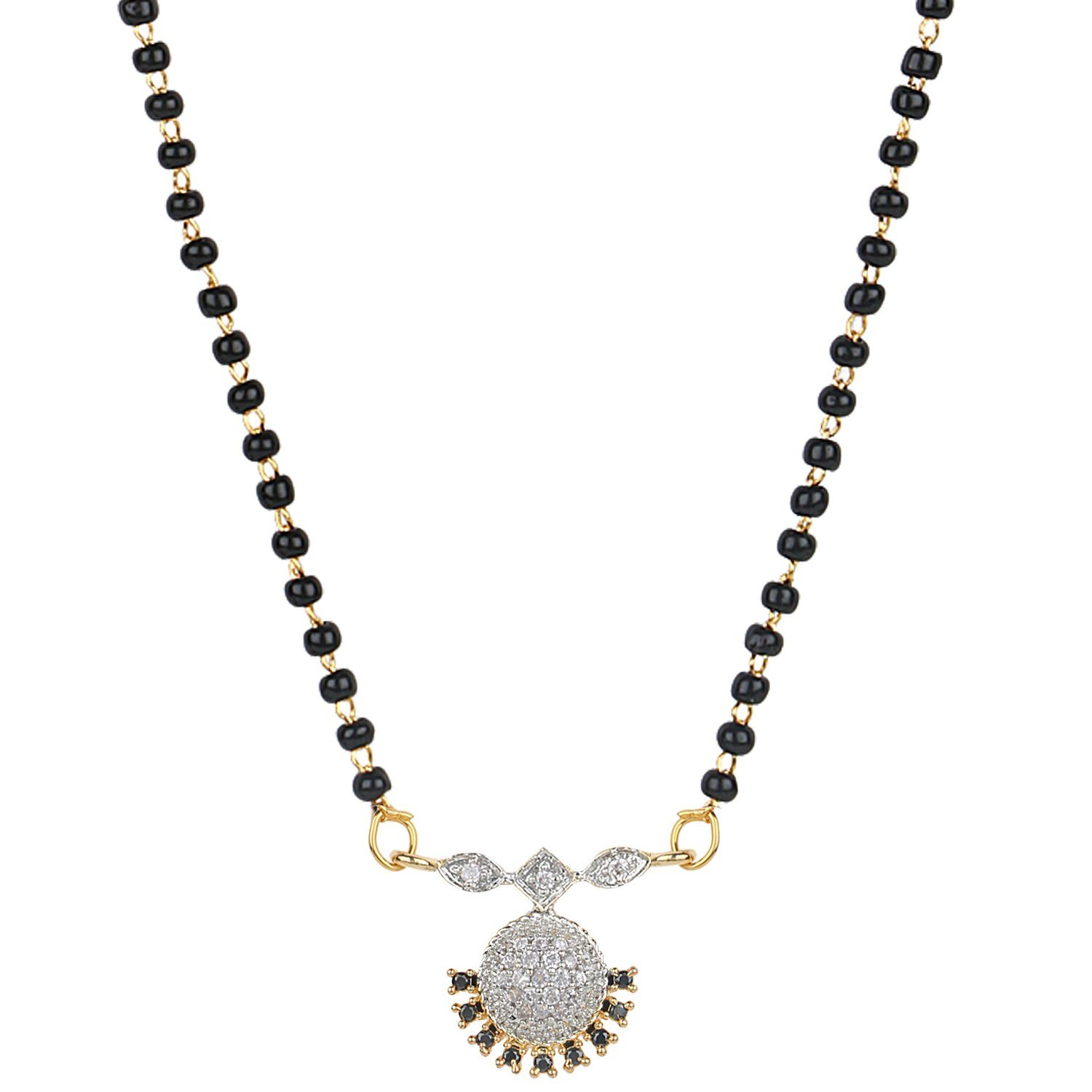 Efulgenz Indian Bollywood Ethnic Traditional Gold Plated CZ Mangalsutra Pendant Necklace set jewelry for Women