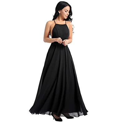 ACSUSS Women's Halter Evening Dress Bridesmaid Long Backless Party Prom Gowns at Amazon Women's Clothing store