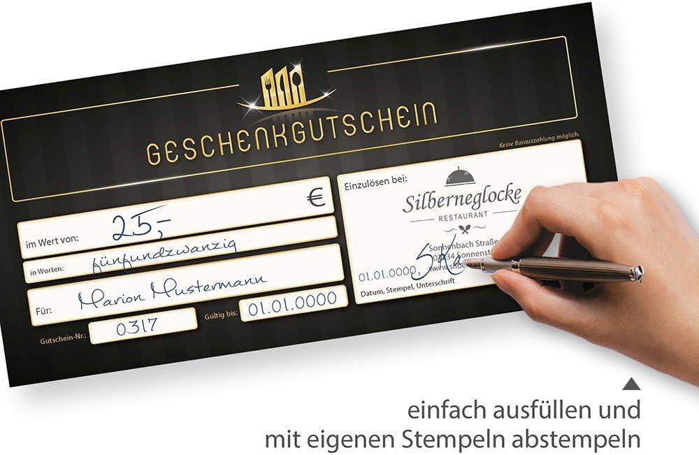 1000 St/ück Geschenkgutscheine Restaurant f/ür Gastronomie einfach Werte eintragen und stempeln
