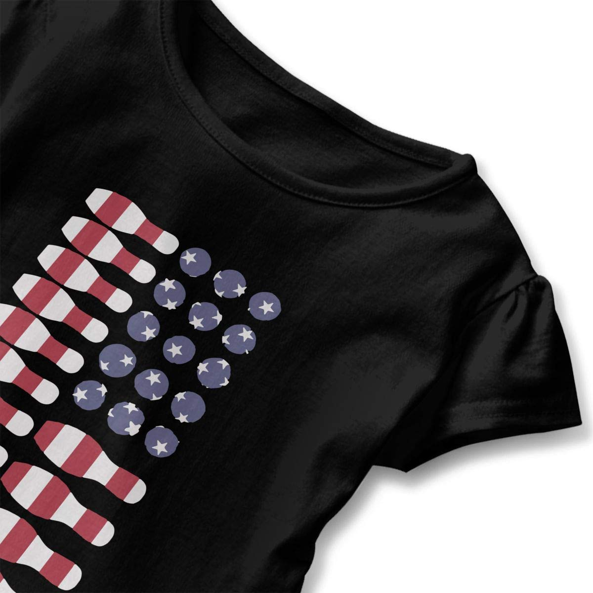 Lover Bowling Ball Ki American Flag Kids Girls Short Sleeve Ruffles Shirt T-Shirt for 2-6T