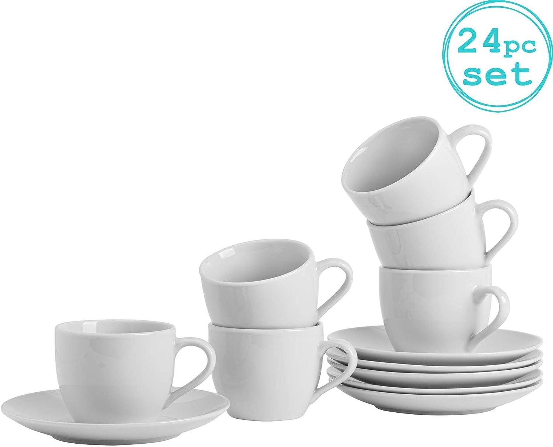 Taza/Platillo Set Blanco Café Cappuccino - 220 ml - Set de 12: Amazon.es: Hogar