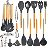 Silicone Kitchen Cooking Utensil Set, EAGMAK 15PCS Kitchen Utensils Spatula Set with Stainless Steel Stand for Nonstick…