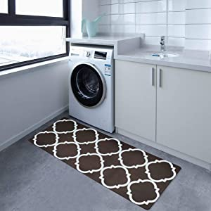 """USTIDE Nonslip Laundry Room Rug Rubber Backed Waterproof Kitchen Floor Mat Decorative Floor Runner for Washroom/Mudroom 20""""x48"""" Coffee and White"""
