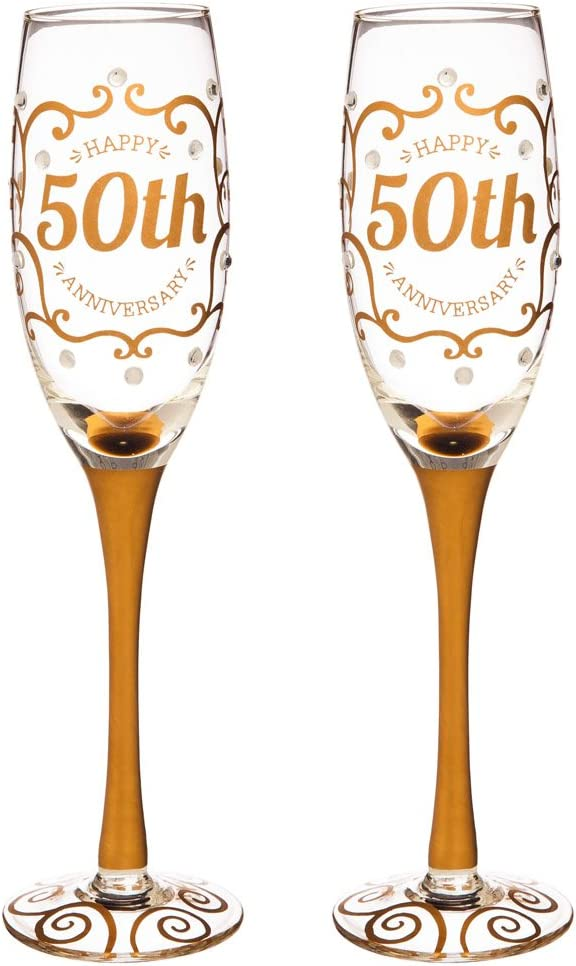 Cypress Home Anniversary Champagn Flutes, 8 ounces, Set of 2 (50th Anniversary)