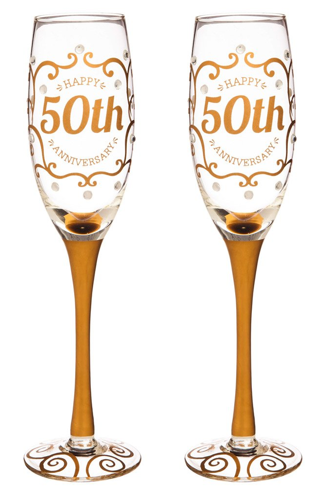 Cypress Home 50th Anniversary Celebratory Champagne Flutes, 8 ounces, Set of 2